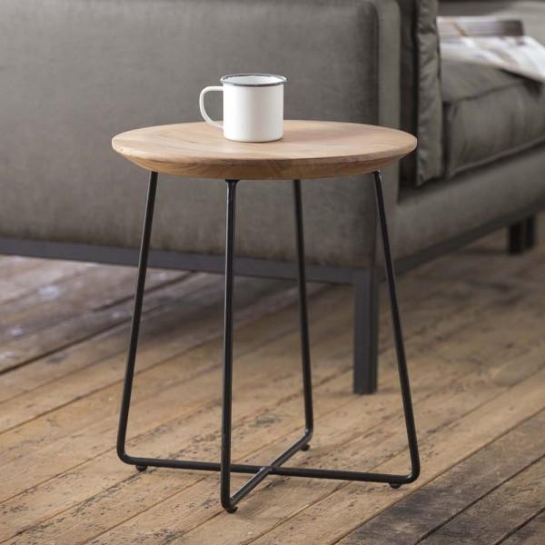 Beistelltisch rund 40 cm aus Holz mit vertiefter Tischplatte Couchtisch
