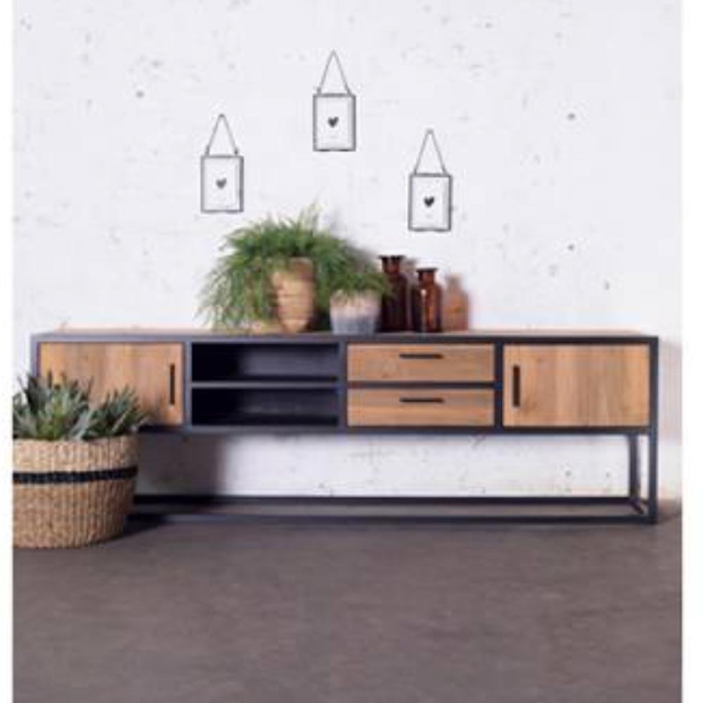vintage tv m bel banda 200 cm lowboard 2 schubladen. Black Bedroom Furniture Sets. Home Design Ideas