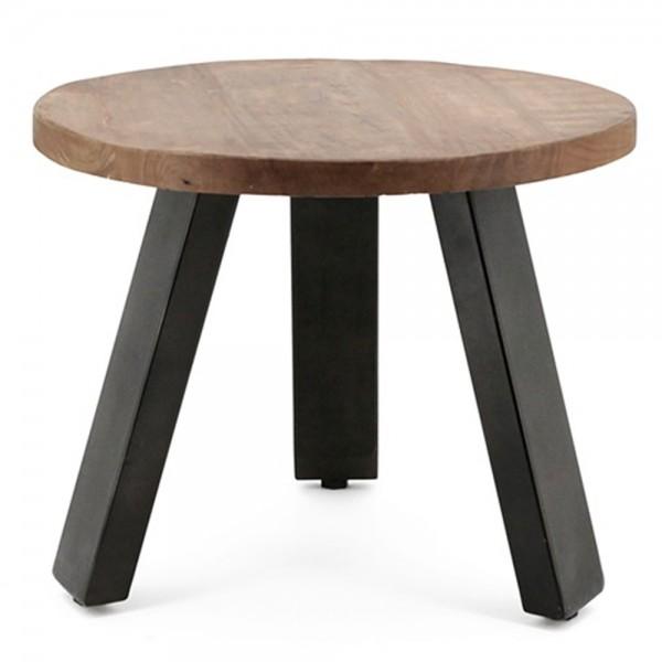 Couchtisch Solid Mango Ø 50 cm Beistelltisch Sofatisch Tisch Mangoholz Metall