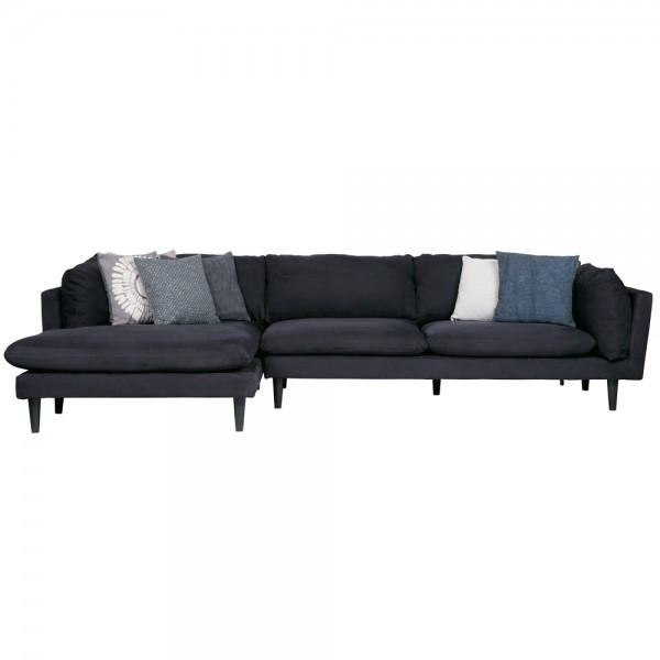 Eckgarnitur Rocky Wildlederoptik schwarz Couch Sofa Ecksofa Longchair links Eckcouch