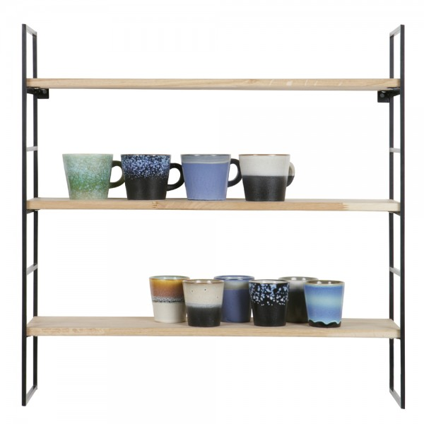Wandregal metall holz  Vintage Rack Regal MEERT Metall schwarz Holz Ablageregal ...