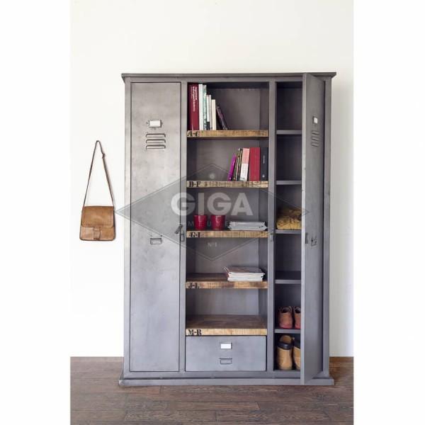 Industrie Design Spindschrank Schrank Bücherregal Ablageregal Regal Silbergrau