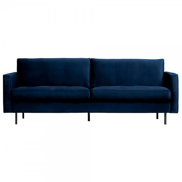 2,5 Sitzer Sofa Rodeo Classic Samt dunkelblau Couch Loungesofa Couchgarnitur