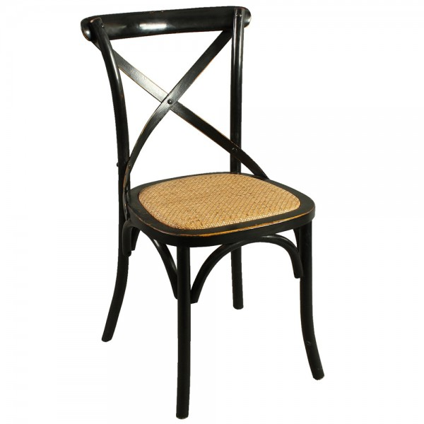 2er Set Stuhl X-Chair schwarz Küchenstuhl Esszimmerstuhl Esszimmer Holzstuhl Bistrostuhl