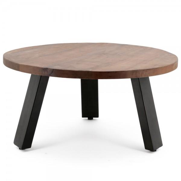 Couchtisch Solid Mango Ø 70 cm Beistelltisch Sofatisch Tisch Mangoholz Metall