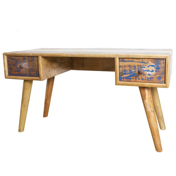 Vintage Büro Schreibtisch 2 Schubladen Bürotisch Tisch Holztisch Arbeitsplatz