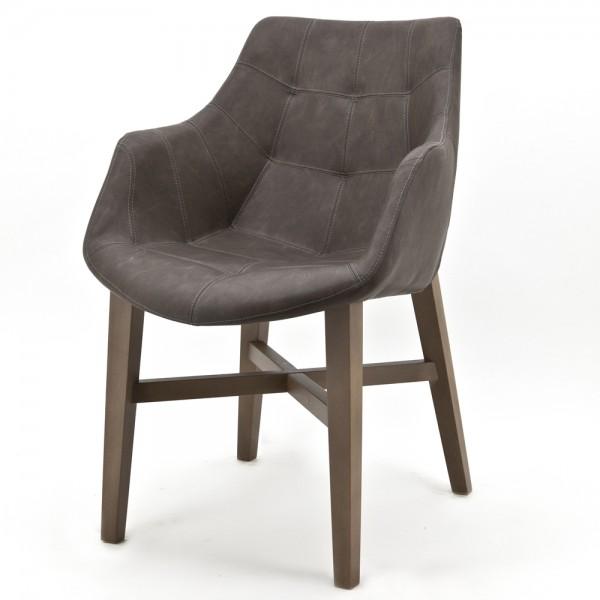 Design Stuhl NEBA taupe mit Armlehne