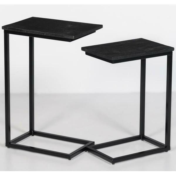 2er Set Couchtisch Jordy Norris Mango Massivholz Metall schwarz Satztische Beistelltisch Sofatisch