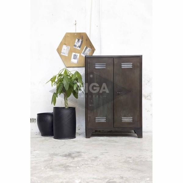 Industrie Kommode KLUIS 2 Türen Metall Schrank schwarz