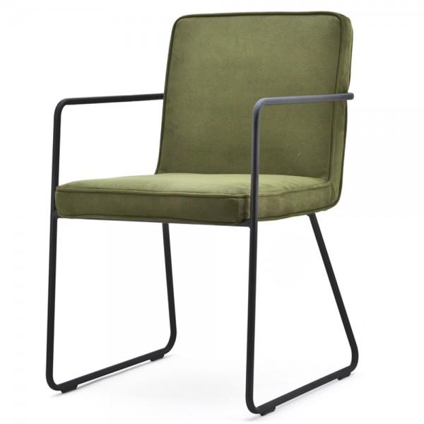 Armlehnstuhl CHARLY grün Kufenstuhl Stuhl