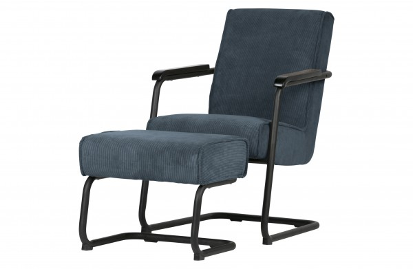 WOOOD Lounge Sessel Micha Ribcord blau