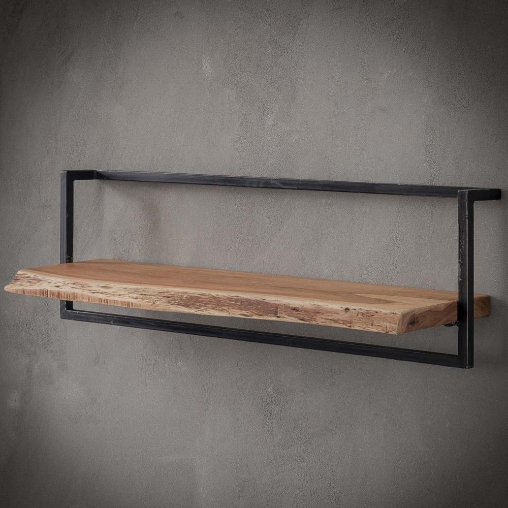Vintage Wandregal 100 cm Akazie Holz Metall Regal   New ...