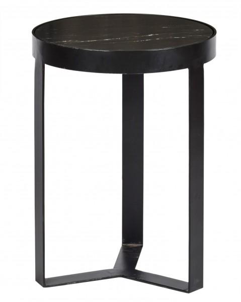 Bestelltisch Couchtisch Glennis Marble Ø 40 cm Metall Marmor schwarz