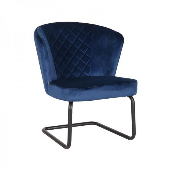 Lounge Sessel Flow Samt Velvet blau