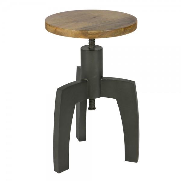 Vintage Hocker SPACE schwarz verstellbar Sitzhocker Sitz Metall Massivholz