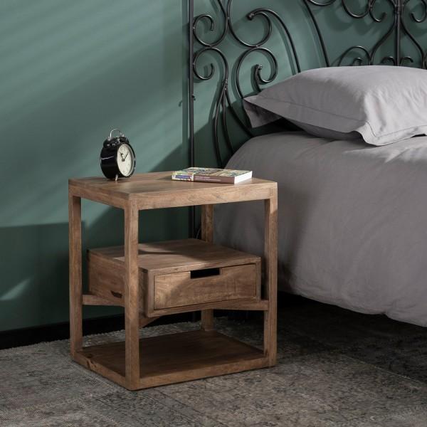 Nachttisch Sonora Mango Massivholz Tisch Nachtschränkchen Nachtkonsole Schublade