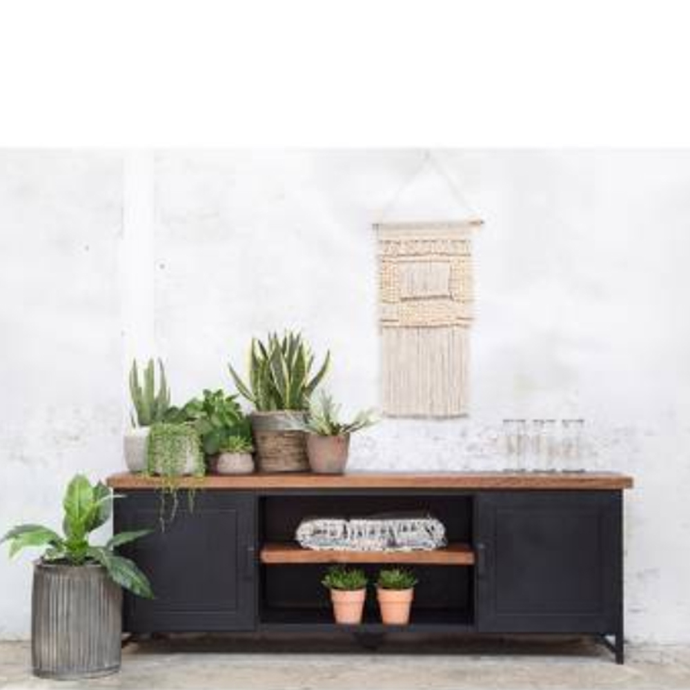industrie design tv m bel alana tisch fernseh kommode rack holz metall vintage schwarz new. Black Bedroom Furniture Sets. Home Design Ideas