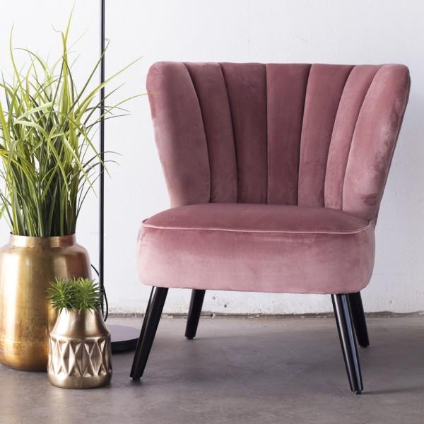Lounge Sessel Shelly Samt rosa Polstersessel