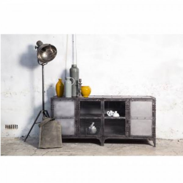 industrial metall tv m bel 152 cm lowboard fernsehtisch. Black Bedroom Furniture Sets. Home Design Ideas