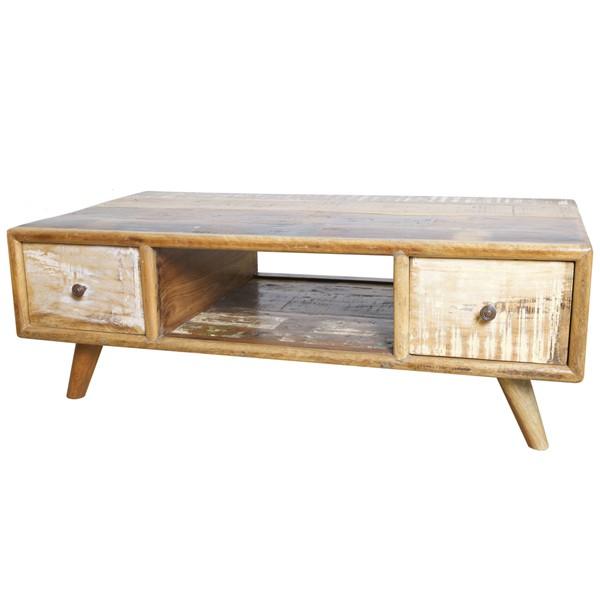 Vintage Couchtisch 2 Schubladen Beistelltisch Sofatisch Tisch Holz Anstelltisch