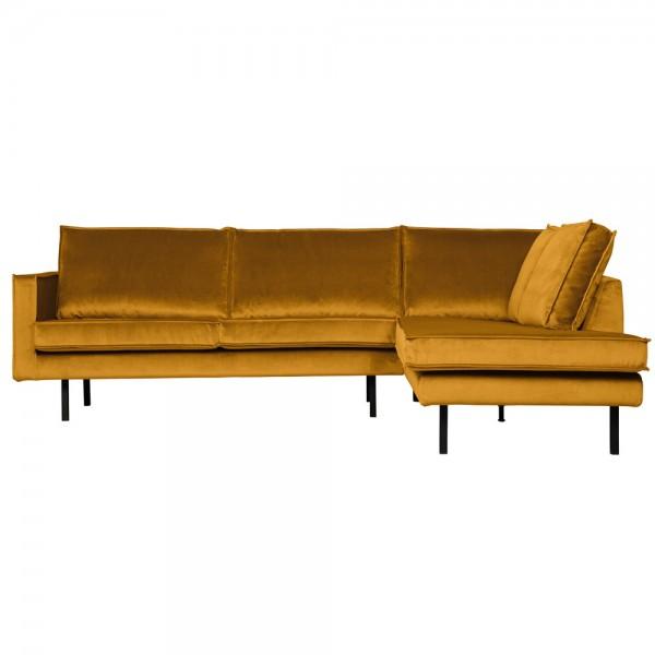 Eckgarnitur Rodeo Samt ocker Couch Sofa Ecksofa Longchair rechts