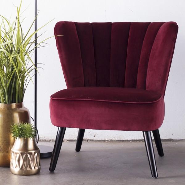 Lounge Sessel Shelly Samt rot Velvet Polstersessel Fernsehsessel Relaxsessel