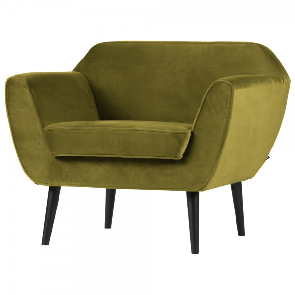 Armlehnsessel Rocco Samt olive Sessel Lounge Clubsessel Fernsehsessel
