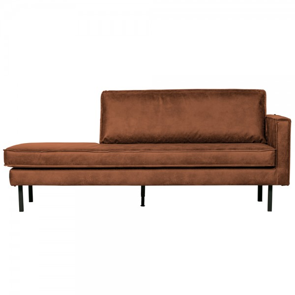 Sofa Chaiselongue RODEO Recamiere rechts recyceltes Leder cognac