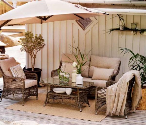 Gartenmöbel Lounge Set Fläder Komplettset Polyrattan inkl Sitz- und Rückenkissen