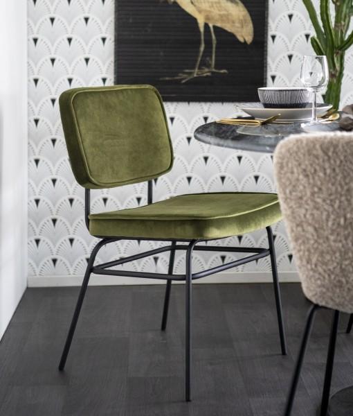 BY-BOO 2´er Set Esszimmerstuhl VICE Stuhl Samt Velour grün olive