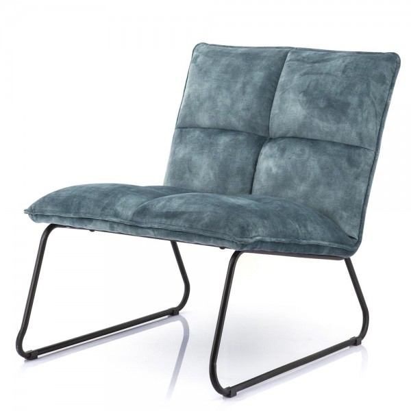 Lounge Chair Sessel Ruby blau Samt