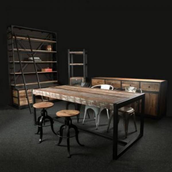 Industrie Design Esstisch Industrial 80 x 80 cm Esszimmertisch Tisch Holz Gestell Metall schwarz