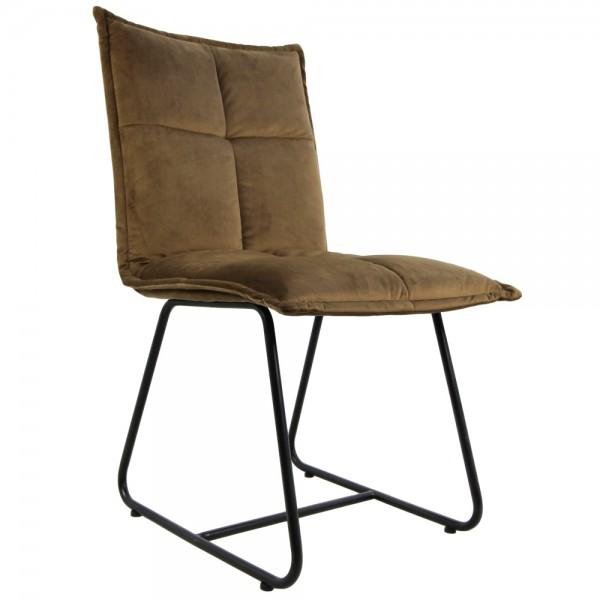 2er Set Stuhl Estelle olivbraun Samt Velvet Kufenstuhl Esszimmerstuhl Küchenstuhl