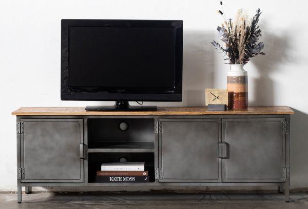 Industrie TV Lowboard Joris 185 cm Mangoholz Metall grau