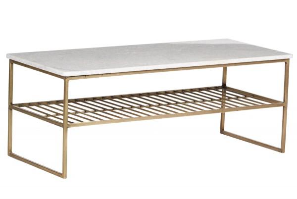 Couchtisch Dian Marble 90 x 40 cm Metall Gold Marmor weiß Sofatisch Tisch