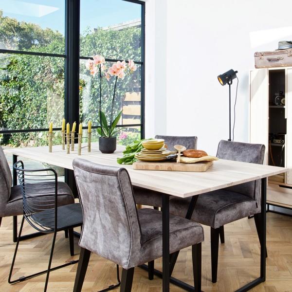 Esstisch Silas 220 x 90 cm Esszimmertisch Dinnertisch Esche Holz Sydney Metall