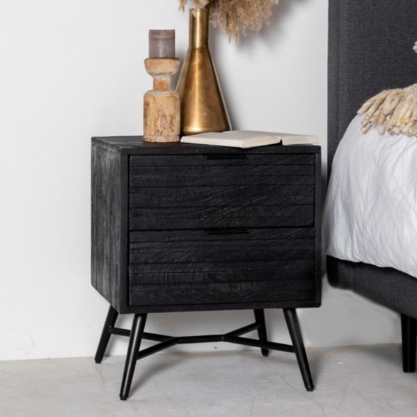 Nachttisch Beistelltisch Fleur Metall Holz schwarz Nachtschränkchen Nachtkonsole