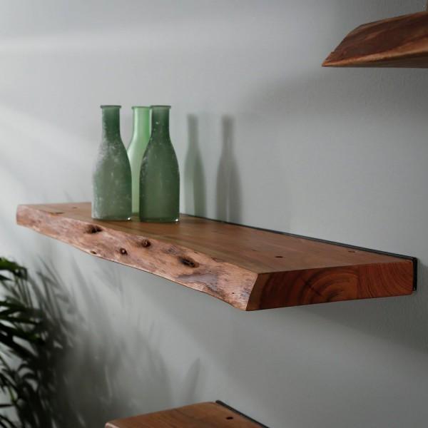 Wandregal Baumkante 90 cm Akazie Massivholz Regal Hängeregal Ablageregal Bücherregal