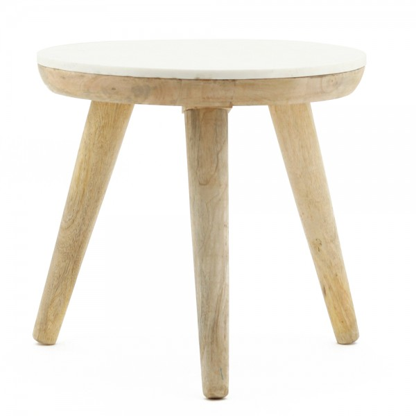 Beistelltisch TRIDENT Ø 50 cm Tisch Kaffeetisch Anstelltisch Holz Marmor weiß