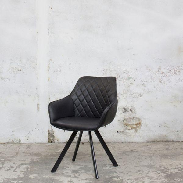 2er Set Esszimmerstuhl TOMLIN Kunstleder schwarz Stuhl