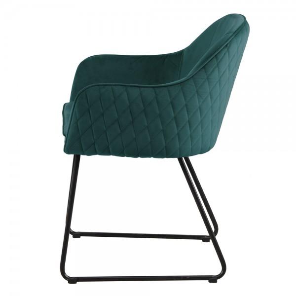 Esszimmerstuhl SAMT Benthe Stuhl mit Armlehnen grün