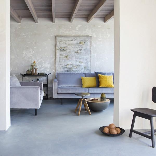 2,5 Sitzer Sofa RODEO Samt hellgrau Lounge Couch Garnitur Loungesofa