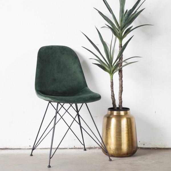 2er Set Stuhl Jamie Samt grün Vierfußstuhl Esszimmerstuhl Dinnerstuhl Esstischstuhl