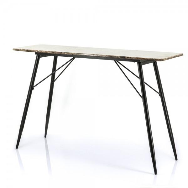 Beistelltisch Richy 120 x 36 cm Metall schwarz Marmor