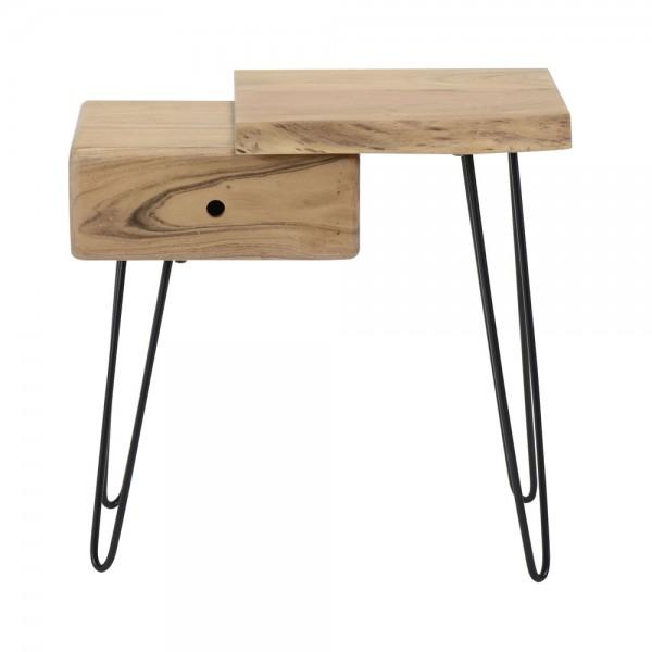 Nachttisch Baumstamm Holz Akazie Nachttischchen rechts Nachtschrank