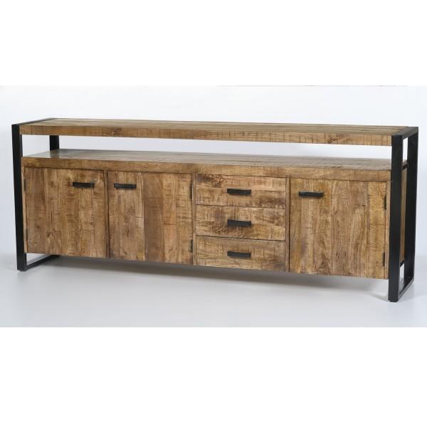 Kommode Sideboard Nairobi 210 cm Mango Holz Metall schwarz