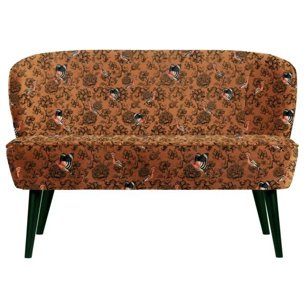 woood kleines 2 Sitzer Sofa SARA 110 cm Samt Phönix und Blumendruck