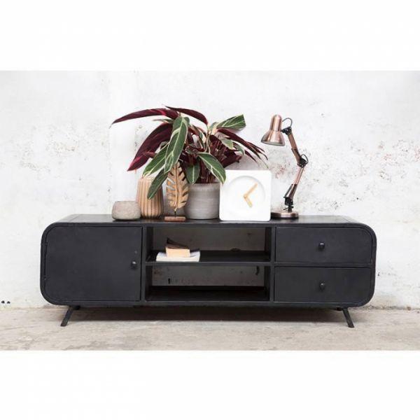 Industrie TV Möbel Retro 160 cm Lowboard schwarz