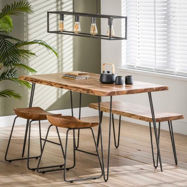 Esstisch EDE Baumstamm 130 x 70 cm Akazienholz Esszimmertisch Dinnertisch Tisch