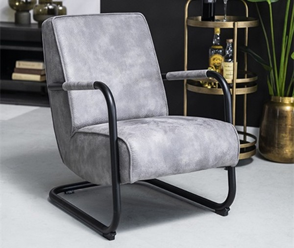 Armlehnensessel Lounge Sessel PIEN Vintage Leder Look anthrazit